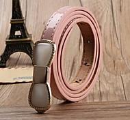 Women Cute Casual Leather Beaded PU Waist Belt