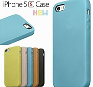Couleur unie/Design spécial/Nouveauté - Couvre arrière - pour iPhone 5/iPhone 5S (Rouge/Noir/Vert/Bleu/Brun/Beige , Cuir PU/Cuir véritable)