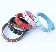Red/Black/Blue/Brown/Pink Retractable PU Leather Collars For Dogs/Cats
