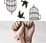 Bird Cage Tattoo Stickers Temporary Tattoos(1 pc)