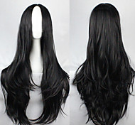 The new European and American High-Temperature Wire  Carved Black  Long Curly Wig 80CM