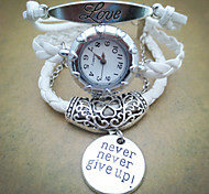 Fashion Handmade Women's Watch Love Heart Never Give Up Leather Weave Band(Assorted Colors)