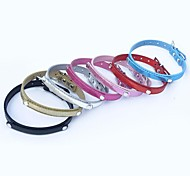 Red/Black/Blue/Pink/Gold/Silver/Rose Retractable Metal/PU Leather Collars For Dogs/Cats
