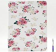 charmant motif de fleurs étui en cuir PU couverture avec un porte-stylet tactile et titulaire de la carte pour iPad 2/3/4