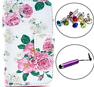 Beautiful Rose Flower Pattern PU Leather Case with Stylus and Dust Plug for Samsung Galaxy Fame S6810/S6818
