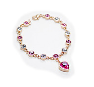 Noble 18K Rose Gold Plated Colourful Austrian Crystal Strand with Heart Crystal Pendant Bracelet