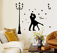 Environmental Removable Romantic Couple under the Streetlight PVC Wall Sticker