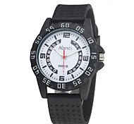 Unisex Quartz Analog Ourdoor Sports Silicone Watches Big Dial Waterproof Black/White/Red/Blue