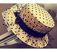 Women's Fashion Net Yarn Lace Sweet Dot Straw Hat Basketwork Hats With Wedding/Party Headpiece