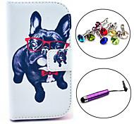 estojo de couro pu padrão cão óculos com caneta e ficha de poeira para Samsung Galaxy S3 mini-i8190