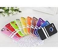 TPU and Plastic Ping with Double Horizontal Stripes Decorative Frame Bracket for iPhone 5/5S (Assorted Colors)