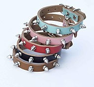 Red/Black/Blue/Brown/Pink Retractable Genuine Leather Collars For Dogs/Cats