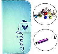 Smile Heart Pattern PU Leather Case with Stylus and Dust Plug for Samsung Galaxy Trend Lite S7390/S7392