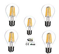 5 pcs ONDENN E26/E27 8 W 8 COB 800 LM Warm White A Dimmable LED Filament Lamps AC 220-240/AC 110-130 V