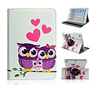 Fashion Painted Owls PU Tablet Protect Case with Stand for iPad Air