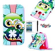 KARZEA™Green Owl Pattern PU Leather Case with Screen Protector and Stylus+Dust Plug for Samsung Ace 4 G357