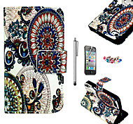 KARZEA™Circle Floral Pattern PU Leather Case with Screen Protector and Stylus and Dust Plug for iPhone 4/4S