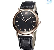 Men's Women's Unisex Dress Watch Quartz Analog Calendar/Water Resistant Simply Dial Black/Brown