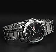 cinta de aço inoxidável de luxo Chenxi com teste padrão 3d relógio calendário diamante quartzo