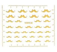 1PC 3D Nail Art Stickers Nail Wraps Nail Decals Gold Mustache Beard Nail Polish Decorations