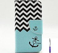 The Sea Waves Pattern PU Leather Case Cover with A Touch Pen ,Stand and Card Holder for iPhone 5C