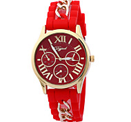 Women's Men's Candy Colored Bracelet Fashion Simple Silicon Tape China Movement Watch(Assorted Colors)