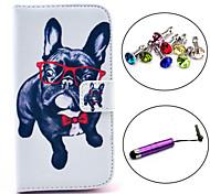 estojo de couro pu padrão cão óculos com caneta e ficha de poeira para i9500 samsung galaxy s4