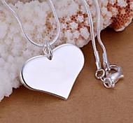 925 Silver Heart Shape Pendant Necklace (1 Pc)