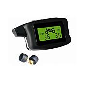 motorcycletpms, 2 sensores externos, display psi / bar, sistema de monitoramento à prova d'água, a pressão dos pneus