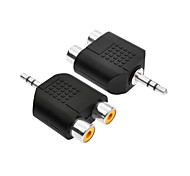 Stereo 3.5mm Male to 2 * RCA Female Stereo Audio Adapter Connector - Black (2PCS)