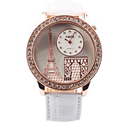Women's Fashion Vogue Paris Eiffel Tower Design Circular Dial PU Leather Strap Quartz Wrist Watches(Assorted Colors)