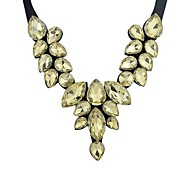 Ribbon Rhinestone Statement Stone Necklace