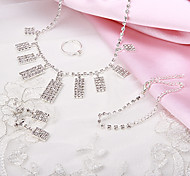 Fashion Nice Rectangle Shape Rhinestone Silver Copper Jewelry Set(1 Set)