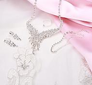 Fashion Glisten Tassels Rhinestone Silver Copper Jewelry Set(1 Set)