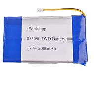 055090P 7.4V 2000mAh  Li-polymer Battery for DVD