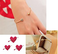 Full Diamond Lovely Heart Open Arc Metal Bracelet
