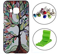 Colourful Tree Pattern PC Hard Case with Anti-dust Plug and Stand for HTC One M9