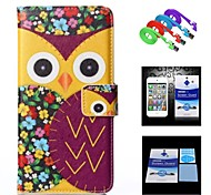 Flower Background Purple Owl Full Body Case+1 HD Screen Protector+1 USB Data Transmit and Charging Cable for iPhone 6