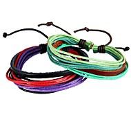 Pulseiras Amizade / Enrole Pulseiras / Pulseiras Vintage / Pulseiras de couro 1pç,Branco / Verde / Púrpura Pulseiras Pele / Tecido Jóias