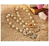 Classic Full Diamond Shining Dog Pearl Bracelet