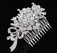 Vintage Wedding Bride Flower Austria Rhinestone Silver Combs Hair Accessories
