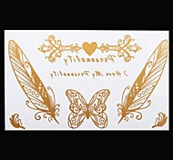 1PC Gold Tattoos Butterfly Feather Temporary Tattoos Flash Tattoos Metallic Tattoos Wedding Party Tattoos(20*10cm)
