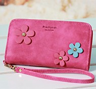 Three Color Floret Wrist Strap Solid Color PU Leather Mobile Phone Bag for iPhone 4G/4S/5S/5C/6 (Assorted Colors)