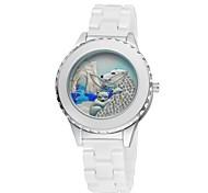 Women's Ceramic Watch Polar Bear Free Second Hand Vintage Bracelet Quartz Analog Wrist Watches Sparkle Rose Gold/Silver