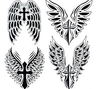 1Pc Yimei Tattoo Stickers Large Size/Waterproof Others Women/Men/Adult/Teen Black Cross Wings Pattern 25cm*21.5cm