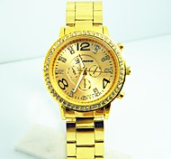 Women's Double Face Circular Strip Geneva Drilling Chinese Movement Watch(Assorted Colors)