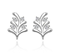 Women's S925 Silver Plated Dolphins Zircon Leaves Earrings(Color Preserving More Than A Year)