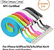 yellowknife® Apple MFI Lightning 8Pin Sync and Charger USB Flat Cable for iphone6/5S/ipad(150cm)