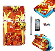 KARZEA™Orange Floral Elephant Pattern PU Leather Case with Screen Protector and Stylus and Dust Plug for iPhone 4/4S