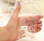 Fashion Diagonal  Pink Zebra Case Bowknot Pattern Rhinestone Case for iPhone6